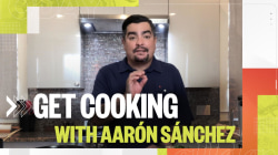 Aarón Sánchez makes pan-seared salmon with an herbed mole