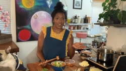 'Top Chef' alum Nyesha Arrington makes a savory ramen with bacon and eggs