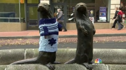 Why Statues in Portland Are Dressed in 'Ugly' Christmas Sweaters