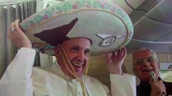 Coolest pope ever: Francis wears sombrero on a jet