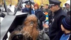 Watch Police Arrest 'Chewbacca' at Ukraine Polls