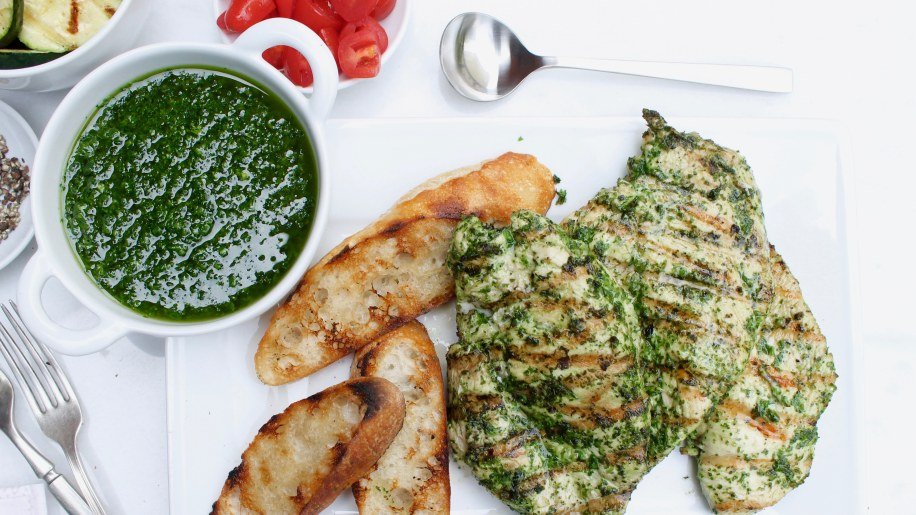 Garlic-and-Herb Grilled Chicken Breasts with Chimichurri Sauce - TODAY ...