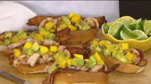 Cinco de Mayo food: Shrimp, mango, avocado rolls with a coconut lime margarita