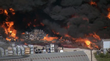 See Explosion During Huge Warehouse Fire