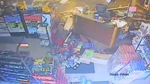 Car crashes into smoke shop, caught on camera