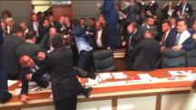 Chaos in Turkish Parliament as Fist Fights Erupt