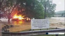 Flaming House Floats Down Flooded West Virginia Creek