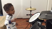 Watch this 1-year old boy rock out on the drums