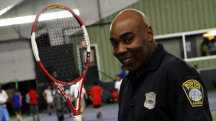 Battling drug use with tennis is this Boston cop's racket
