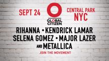 Rihanna, Selena Gomez, Metallica top Global Citizen lineup