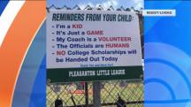 Little League sign reminds parents: 'It's just a game'