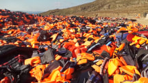 Life Jacket Mound Increases as Migrants Arrive on Lesbos