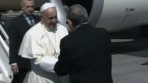 Pope Francis Arrives in Havana Greeted by President Raul Castro