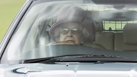 Queen drives on the grass to avoid a young family