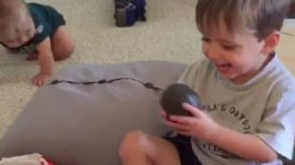 An avocado! Watch father test tot's manners with bad birthday gift