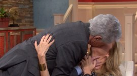 KLG gets a really, REALLY long surprise kiss from Regis Philbin