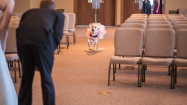 This bride and her dog are inseparable for the sweetest reason