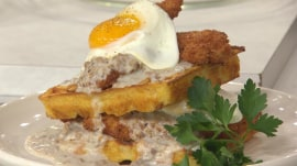 Love chicken and waffles? Billy Dec makes them with a sandwich-style twist