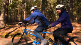 Dylan Dreyer and Sheinelle Jones bike (bumpily) through Acadia National Park