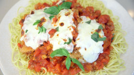 The key to Natalie's healthier chicken parmesan is fresh mozzarella