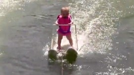 Watch this 6-month-old baby girl water ski