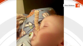 Cheerio challenge: Dads compete to stack cereal on sleeping babies
