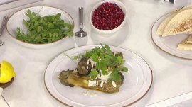 How to grill za'atar and lemon chicken, eggplant with tahini