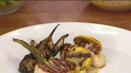 Grill scallops with summer squash, eggplant a la Geoffrey Zakarian