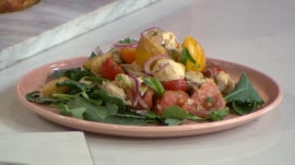 Make chicken panzanella and peach parfaits: No oven required!