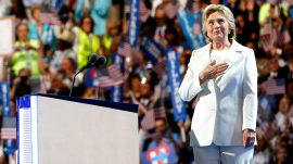 Hillary Clinton accepts historic nomination, slams Trump, lauds Sanders
