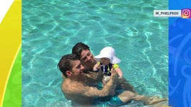 How did Michael Phelps spend his first day after Rio? In the pool, of course!