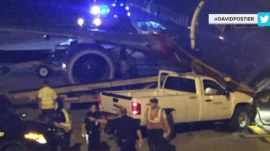 Man drives stolen truck into nose of a plane at Omaha airport