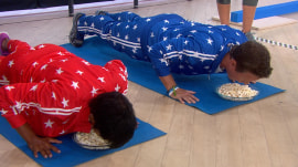 Billy Bush and Tamron Hall do 'popcorn pushups' to test their strength