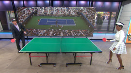 Tamron and Billy duel in table tennis, give away US Open tickets to a lucky couple