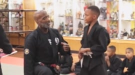 Martial arts teacher consoles tearful boy, teaches important lesson