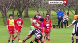 Watch one big kid in 'beast mode' dominate a rugby match