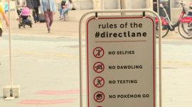 New subway fast lane prohibits selfies, texting, Pokemon Go