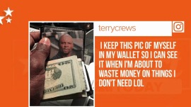 Terry Crews uses picture of Terry Crews to stop him from spending money