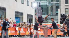 Gymnast flips out to break world record on TODAY plaza