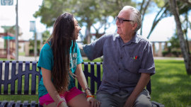 Teen, her 82-year-old grandfather attend college together