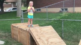Watch littlest 'Ninja Warrior' tackle homemade obstacle course: She's 5!