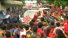 Police van rams protesters in the Philippines; 3 injured during rally