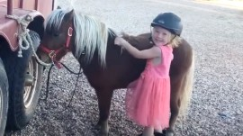 Watch this adorable little cowgirl try to mount her horse, Bo