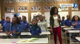Teacher inspires students to 'push through' in daily motivational routine