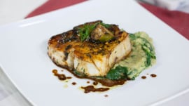 Halibut with charred eggplant and spinach: Marcus Samuelsson makes  it easy