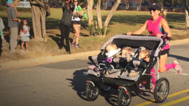 Mom runs half marathon while pushing triplets