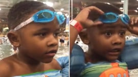 This little swimmer can't find his goggles anywhere