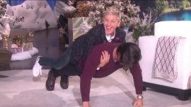 Watch Milo Ventimiglia effortlessly do push-ups with Ellen on his back