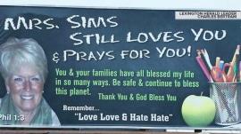 Teacher's heartfelt billboard for former students: 'Mrs. Sims still loves you'