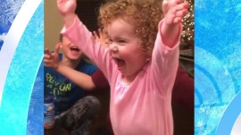 Toddler totally nails the water bottle challenge: Watch her excited reaction!